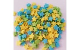 סוכריות כוכבים צהוב כחול ירוק לקישוט העוגה