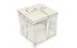 קופסא שקופה לעוגה לבן 30*30*30