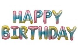 מארז בלונים לניפוח עצמי צבעי פסטל אומברה happy birthday
