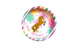 מארז 10 צלחות חד קרן זהב צבעוני