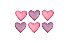 לבבות מטאלי ורוד סגול תלת מימד מסוכר לקישוט העוגה