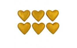 לבבות מטאלי זהב תלת מימד מסוכר לקישוט העוגה