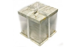 קופסא שקופה לעוגה דגם שיש לבן 20*30*30