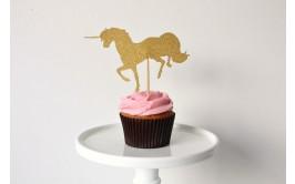 קסמי זהב לעוגה/קאפקייקס מוזהב גליטר חד קרן