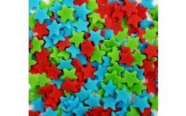 סוכריות כוכבים אדום כחול ירוק לקישוט העוגה