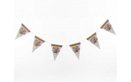 שרשרת דגלונים יום הולדת שמח רקע לבן