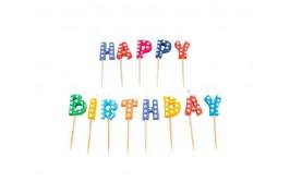 HAPPY BIRTHDAY מארז נרות צבעוני