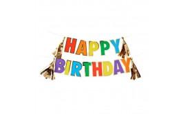 שרשרת יום הולדת שמח צבעונית+פרנזים