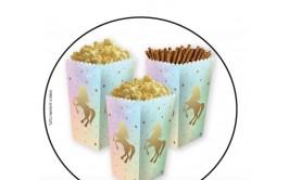 מארז קופסאות פופקורן לחטיפים דגם חד קרן פסטל זהב