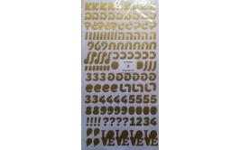 גליון מדבקות אותיות זהב בצבע כסף לבלונים/קופסאות