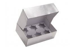 קופסא עם מכסה ל 6 קאפקייקס צבע כסף