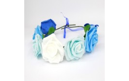 זר פרחים גדול מרהיב כחול תכלת לבן