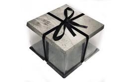 קופסא שקופה לעוגה אבן אפורה 30*30*30