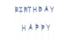 Haapy birthday נרות כחול מטאלי