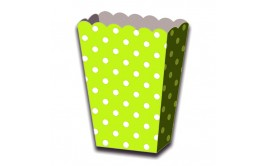 מארז 6 קופסאות פופקורן נקודות ירוק תפוח