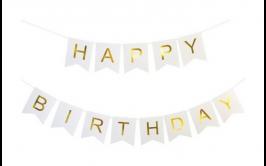 צבע לבן זהב Haapy birthday שרשרת