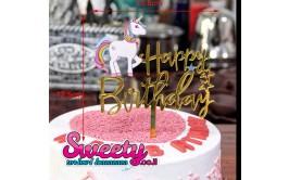 Happy Birthday טופר לעוגה חד קרן