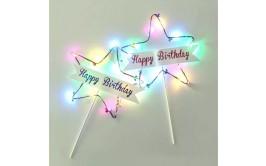 ורוד אורות לד Happy birthday  שלט נעיצה לעוגה