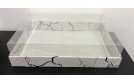 קופסת קרטון דמוי שיש מכסה פי וי סי לעוגה מלבנית 11.5*30*45