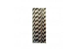 חבילת קשים מעוצבים פסים שחור כסף מטאלי