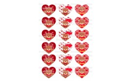 טרנספר אהבה תואם שבלונת לבבות גדולים 167